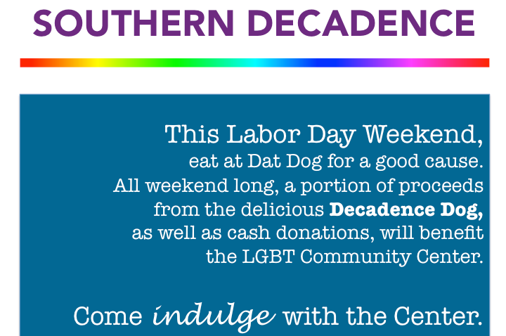 Support the Center this Weekend at Dat Dog!